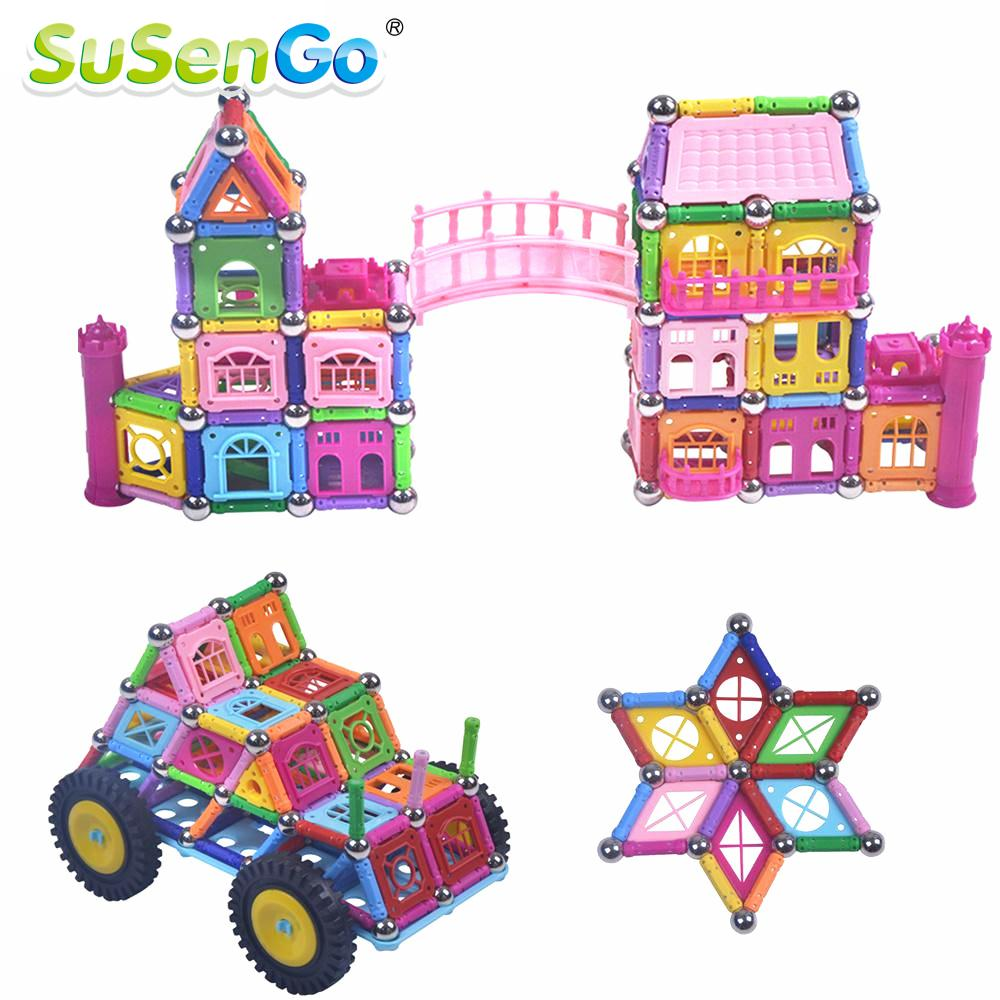 SuSenGo Magnetic Toys Building Block Designer 135/268/358 st Magneter Barer & Metallbollar Stick Barn Tidig Träning Barn Gift