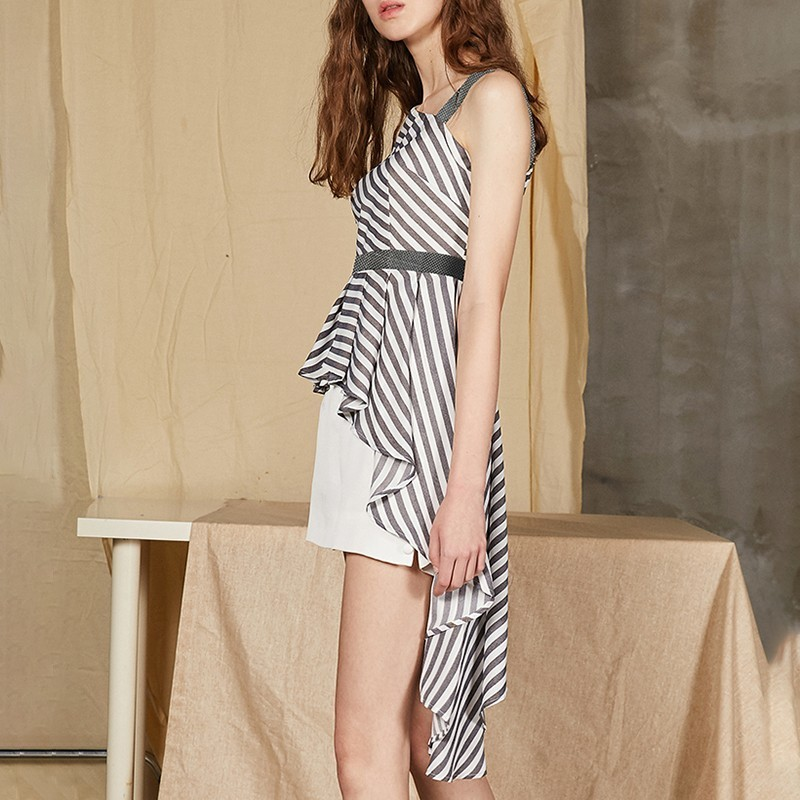 Women Shoulder Ruffle Striped ever Sleeve Tunic Casual Tops Lantern Blouse Yd Shirt Off Summer Sexy Asymmetrical wYFcqS