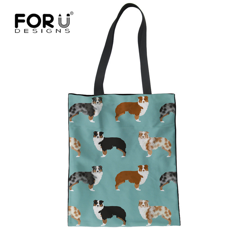 FORUDESIGNS Australian Shepherd Printed Reusable Shopping Bag Grocery Durable Travel HandBag Storage Pouch Beach Foldable Bags