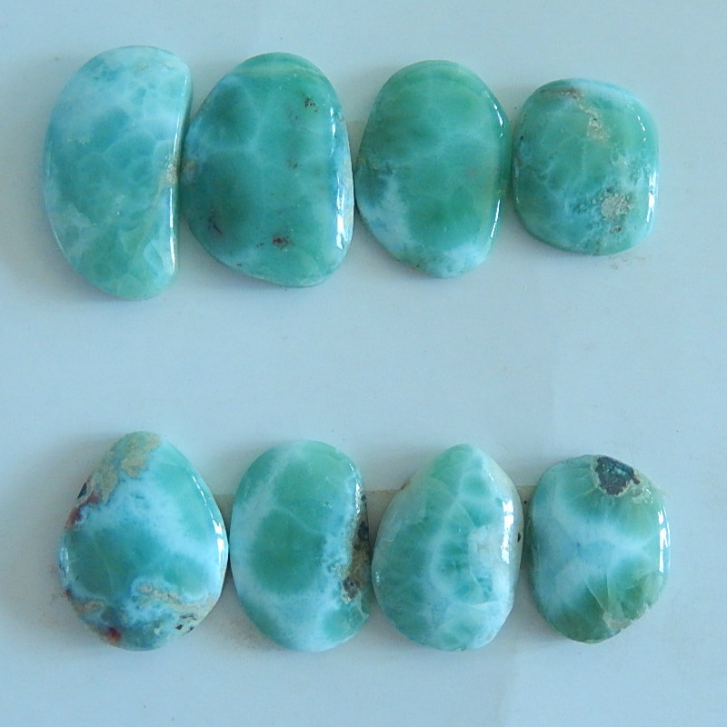 8 PCS Of Natural Larimar necklace Cabochons,Semiprecious stone jewelry pendant necklace,24x13x5/17x13x5mm,22.26g