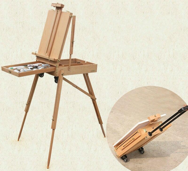 Многофункциональный складной мольберт Бук деревянная клюшка шкив масляной живописи коробка расширенные регулируемые; дерево художника На