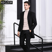 KEGZEIR 2019 New Long Mens Overcoat Fashion Casual Male Pea Coat Slim Wool Blend Trench Coat Men Wool Casaco Masculino