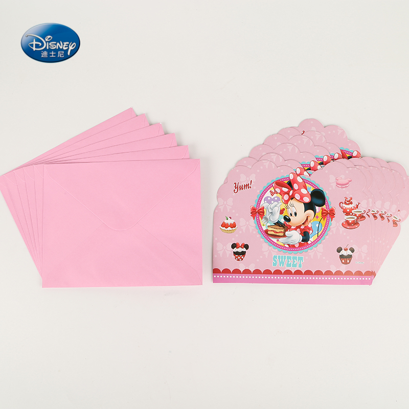 12pcs Invite Cards + Envelope Disney Party Supplies Minnie Mouse Invitation Card Kids Birthday Party Supplies