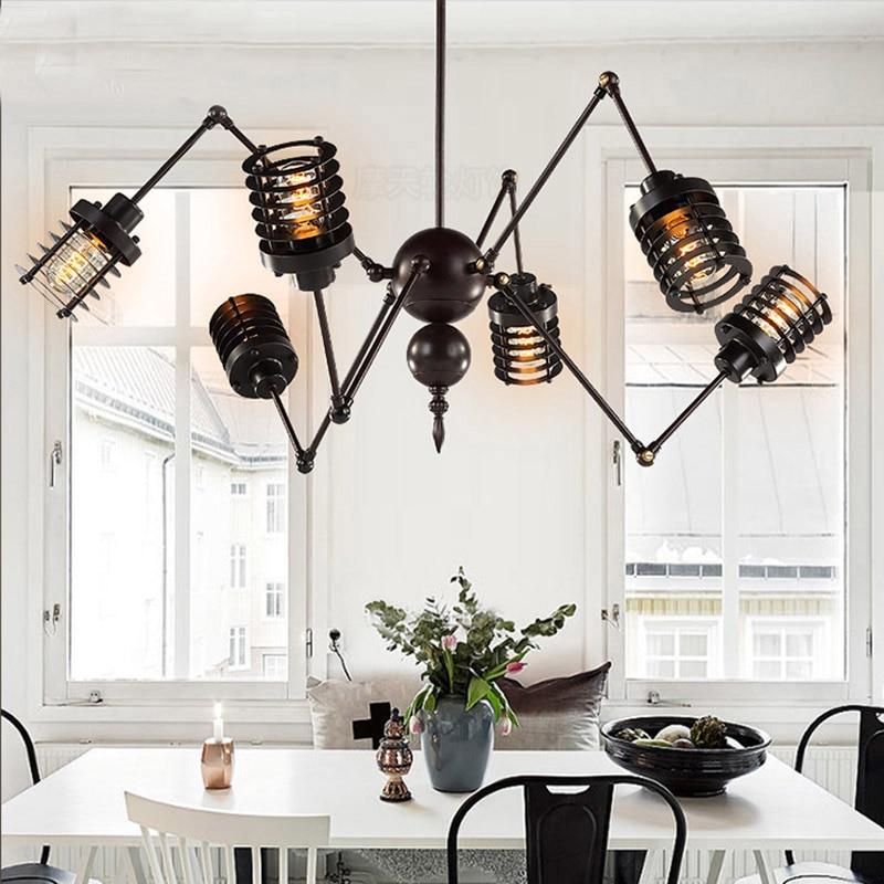 Nordic retro pendant lights Industrial Edison Light fixtures Vintage Spider Pendant Lamp Loft Antique Adjustable industrie Light