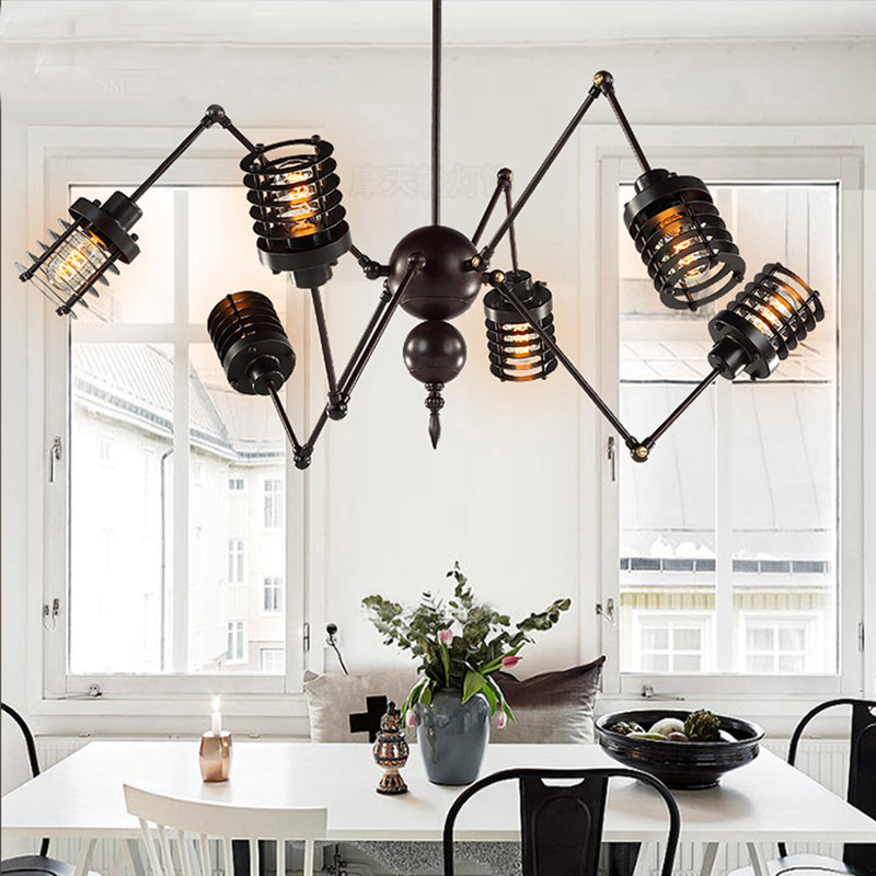 Nordic retro pendant lights Industrial Edison Light fixtures Vintage Spider Pendant Lamp Loft Antique Adjustable industrie Light nordic retro pendant lights fixtures lampara vintage industrial lighting spider pendant lamp loft antique fixtures luminaire