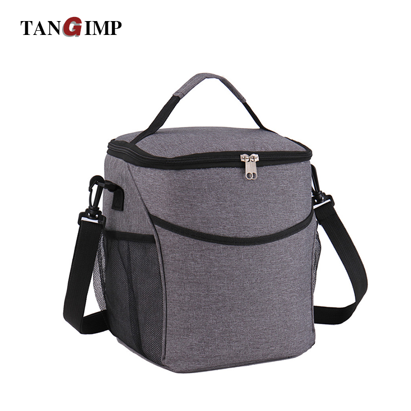 TANGIMP 9L Adult Lunch Box Insulated Lunch Bag Large Cooler Tote Bags for Men Women Work Gray Food Handbag with Shoulder Strap tote bags for work