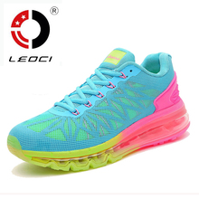 LEOCI Full Air Sole Running Shoes For Women 2016 Spring Breathable Runner Shoes Damping Trainers Women Sneakers