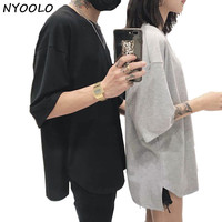 NYOOLO Casual Tees Summer Loose Solid Color Plus Size Short Sleeve T Shirt Women Men Clothing