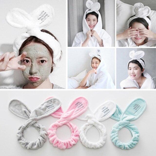 52a1ce2003d Headwear Big Rabbit Ear Soft Towel Hair Band Wrap Headband For Bath Spa  Make Up Women Girls Face Washing Elastic Soft Headband