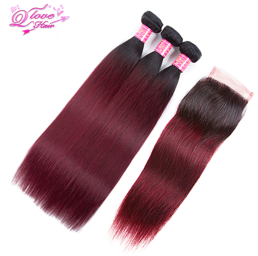 Queen Love Hair Pre-colored Peruvian Hair Straight 100% Human Hair 3 Bundles With Closure Ombre Hair 1B/99J Non Remy Hair