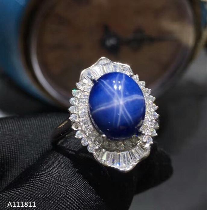 KJJEAXCMY fine bijoux 925 pur argent incrusté naturel saphir dames anneau test support