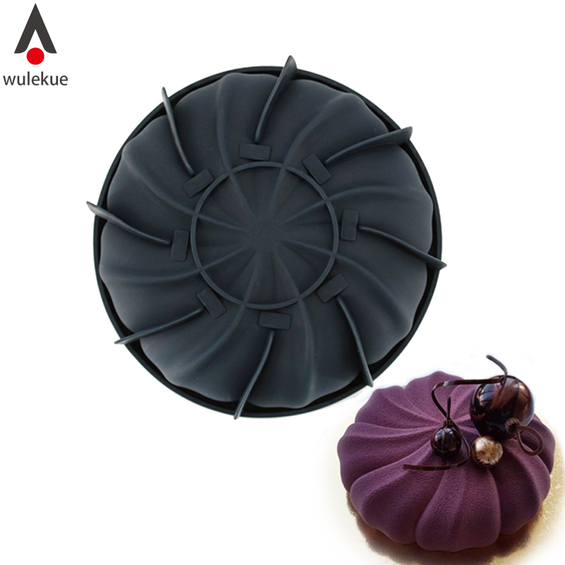 Wulekue Black Silicone Whirlwind Cake Baking Mold For Mousse Dessert Chocolate Mould Pan