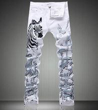Мода Новые Vintage Zebra Для Печати Белый Джинсовые Брюки Fashon Тонкие Белые Джинсы
