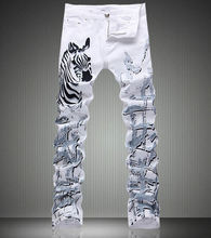 Fashion New Vintage Zebra Print White Denim Trousers Fashon Slim White Jeans