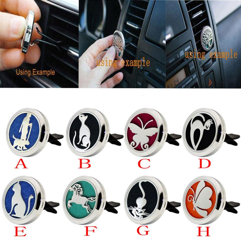 car styling stainless car air auto vent freshener essential oil diffuser gift locket decor car. Black Bedroom Furniture Sets. Home Design Ideas