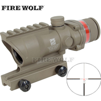 Trijicon Tactical Acog Style 4x32 Rifle Scope Tan Red Dot Red Optical Fiber 20mm Rail