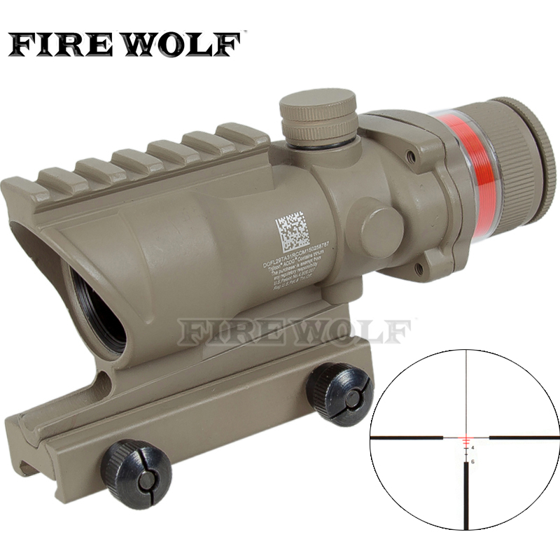 Tactical acog style 4x32 rifle scope Tan Red dot Red Optical Fiber 20mm Rail cartoon airplane style red