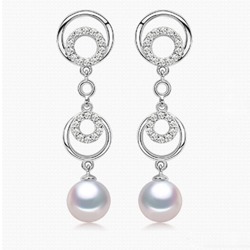 RUNZHUQIYUAN 2017 100% boucles d'oreilles en perles d'eau douce naturelles 925 boucles d'oreilles longues en argent sterling Zircon pour femmes bijoux de mariage