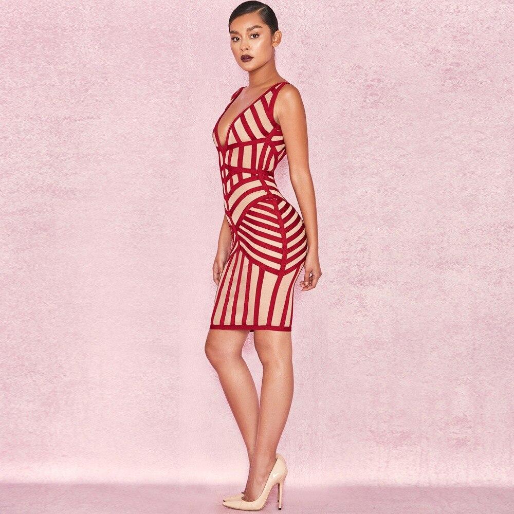 Frauen Sexy Bandage Kleid Viskose V-ausschnitt Knielangen Bodycon ...