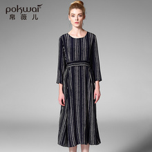 POKWAI Elegant Long Casual Summer Silk Party Dress Women 2017 Luxury Brand Womens Clothing Long Sleeve Striped A-Line Dresses