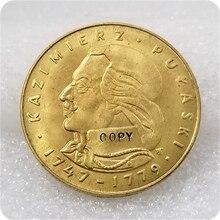 Polonais 1976 MW   KAZIMIERZ PULASKI, ZL, pièces de monnaie or, livraison gratuite, copie, 500