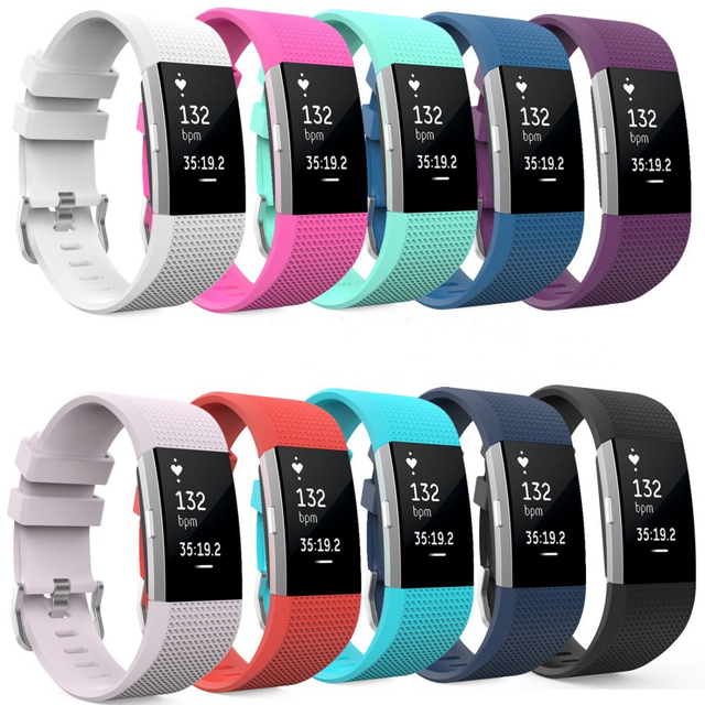 US $5 32 |Soft Silicone Replacement Band for Smart Fitbit Charge 2 Heart  Rate Fitness Wristband Bands Straps Bracelet Belt DIY Accessories-in Wrist
