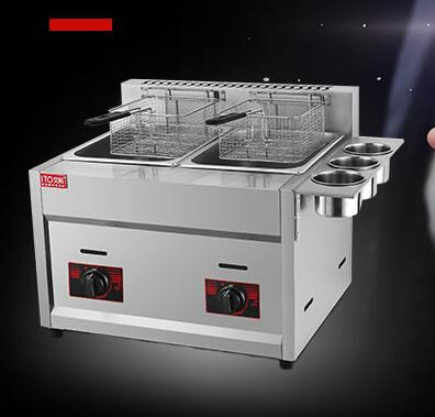 new design stainless steel gas deep fryer, double tank with 3 buckets gas fryer ,french fries machine for commerial use