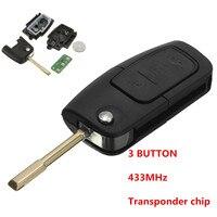 433MHz 3 Button Flip Key Fob Transponder Chip Flip Key Case For Ford 1998 2005 FOCUS
