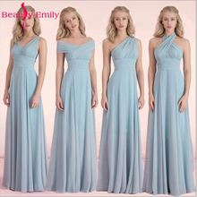 Beauty-Emily Candy Color Cheap Long Chiffon A-Line Bridesmaid Dresses 2017 Vestido da dama de honra Party Prom Dresses