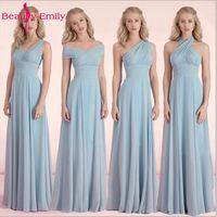 Beauty Emily Candy Color Long A Line Bridesmaid Dresses 2017 Off The Sleeve Vestido Da Dama
