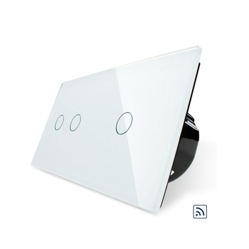 Livolo RF Technology, 2-Gang Remote and 1-Gang Remote Touch Switch,Tempered Glass panel, light wall home switch