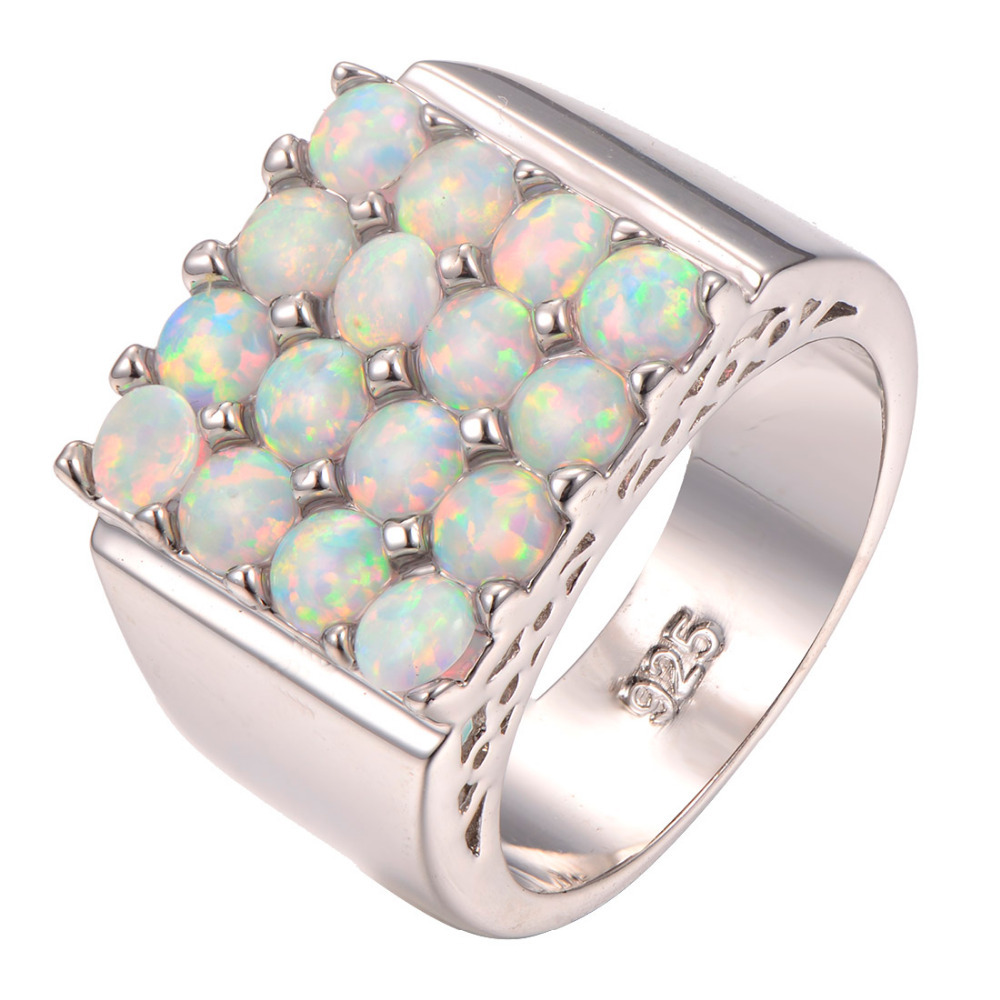 Newest White Fire Opal 925 sterling silver Fashion Ring Size 6 7 8 9 10 F1262