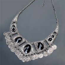 Black Tribal Silver Vintage Coin Necklace