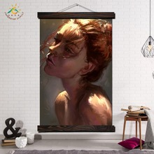 Beautiful Sad Girl Image Modern Wall Art Print Pop Posters and Prints Scroll Canvas Painting Pictures for Living Room
