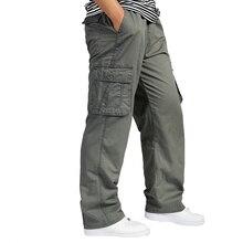 Для мужчин штаны-карго Лето общая мешковатые Армейский зеленый брюки рабочий прочные штаны свободного кроя Для мужчин длинные брюки плюс Размеры XXXL 4XL 5XL 6XL