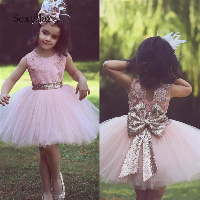 Light Pink 2018 Flower Girl Dresses Jewel Neck Appliques Lace Back Sequined Bow Girls Pageant Dress Little Girls Birthday Gown