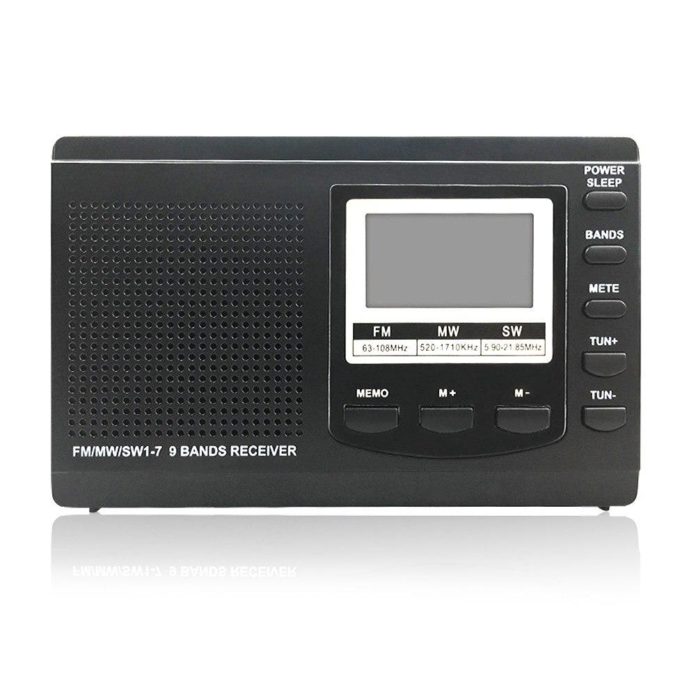 FM/MW/SW Mini récepteur radio FM Radio numérique Portable stéréo avec lecteur de musique MP3 USB avec écran LCD pour les cadeaux de noël