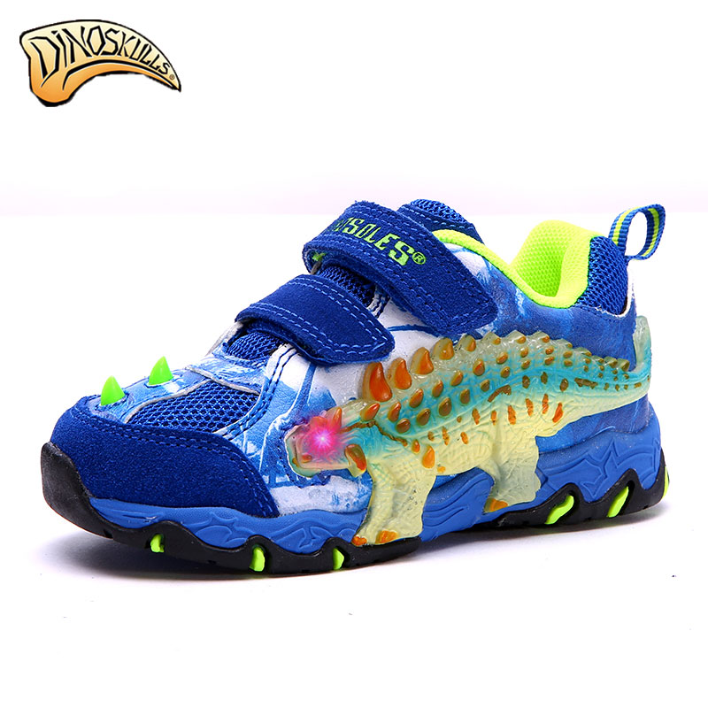 Dinoskulls Kids Sport Shoes Children Sneakers Breathable Leather Boy Running Shoes 2017 Girls Leisure Casual Shoes led new hot sale children shoes pu leather comfortable breathable running shoes kids led luminous sneakers girls white black pink