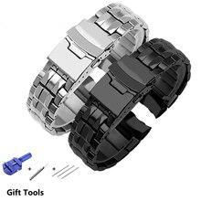 PEIYI Precision steel strap adapted Casio steel watch band waterproof man strap EF 535D 7A Watch Chain Silver Black
