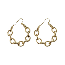 Simple temperament hollow oval link metal earrings for woman