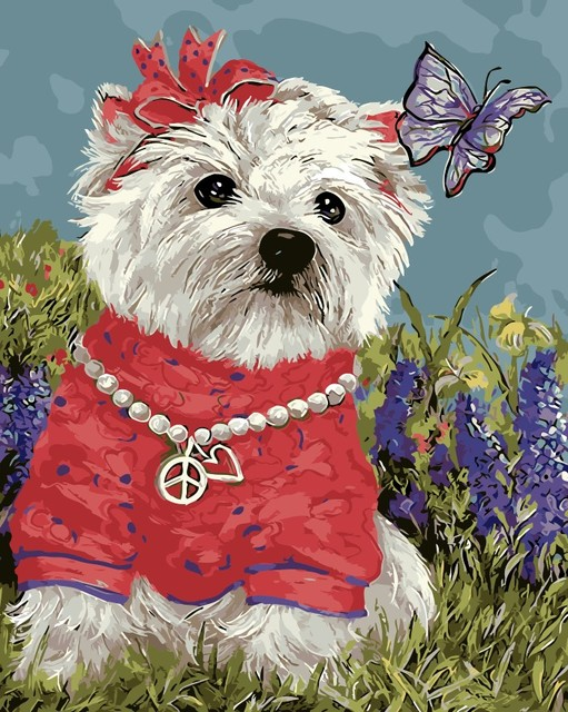 Indah Anjing Berpakaian Modul Gambar Mewarnai Dengan Tangan Minyak
