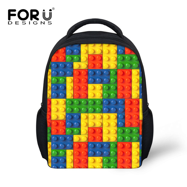 61d56c31d1ed FORUDESIGNS Child Cute Cartoon Game Tetris Prints School Bags Small  Schoolbag For Boys Girls Kids Mochila