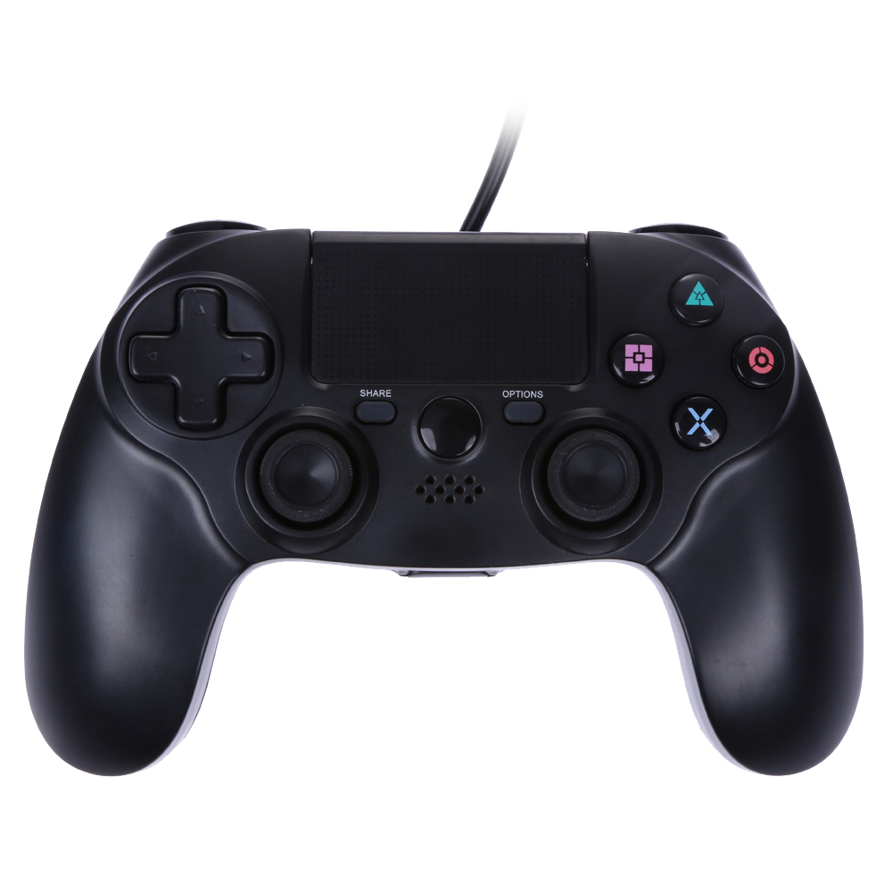 New Dual Vibration 6 Axies Wired Gamepad USB Wired Game Controller black Pad Joystick For Playstation