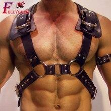 Fullyoung жгут для мужчин s Связывание гей панк кожа жгут для мужчин тело грудь ремень Фетиш гей БДСМ подтяжки плеча половина жгут
