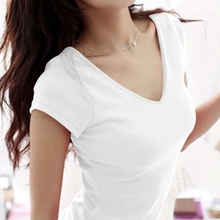 Горячая Распродажа, летние Стрейчевые новые женские футболки, MS, одноцветная футболка с коротким рукавом, Женская Модная хлопковая Футболка с v-образным вырезом W00622