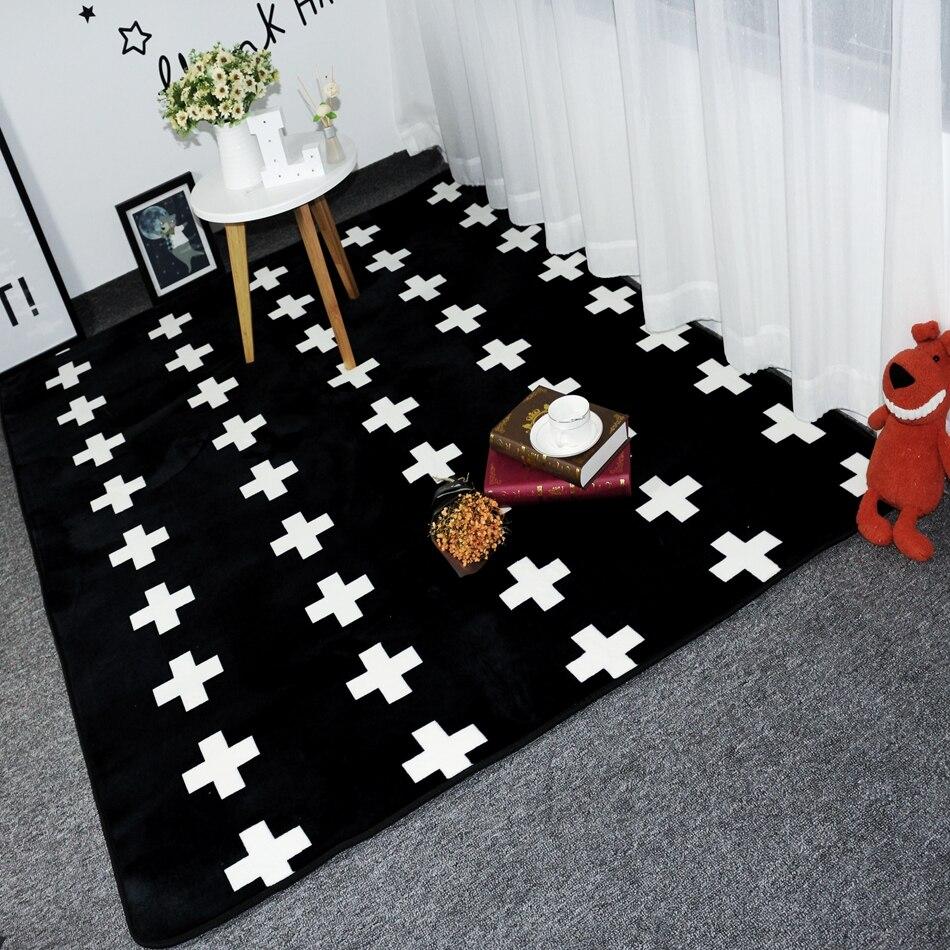 Wohnzimmer sofa carpet schwarz farbe weiß kreuz design teppich weiche polyester teppiche für eine moderne wohnzimmer