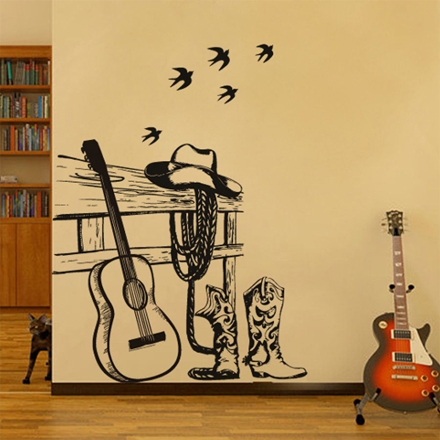 Still life painting Western cowboy and Guitar Wall sticker Home ...