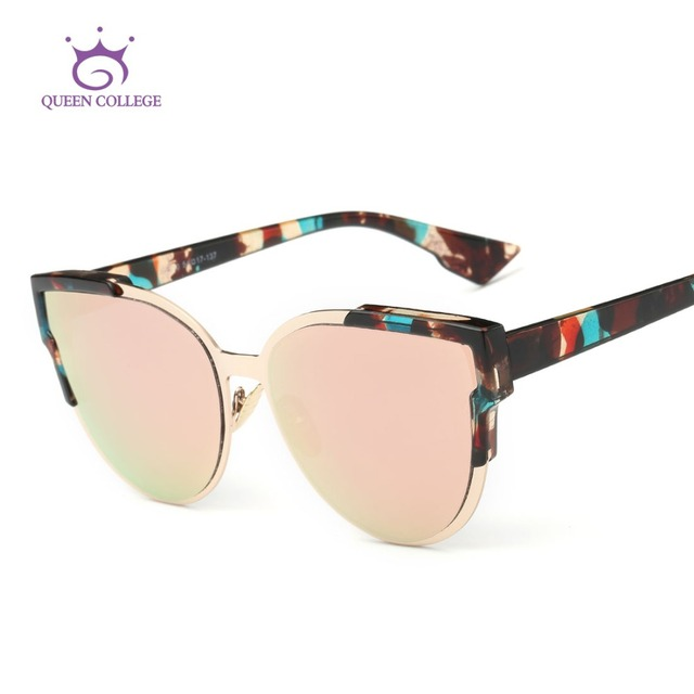 Queen College Sunglasses Women Newest Brand Designer Half Frame Sun glasses for Women With Box UV400 QC0379