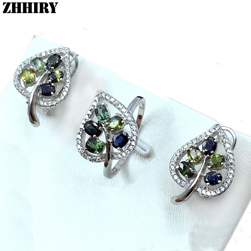 ZHHIRY 925 Sterling Silver Sets Natural Sapphire Gemstone Set For Women Colorful Stone Earring And Ring