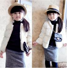 2015 New Solid Cotton and Faux Fur Clothing for Teens Girls Teenagers Baby Girl Clothes Jacket